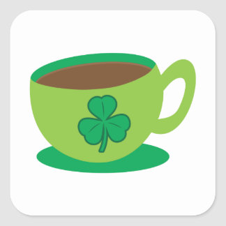 IRISH coffee CUP with a shamrock Square Sticker