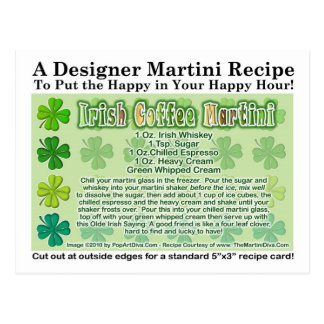 Irish Coffee St. Patrick's Day Martini Recipe Card