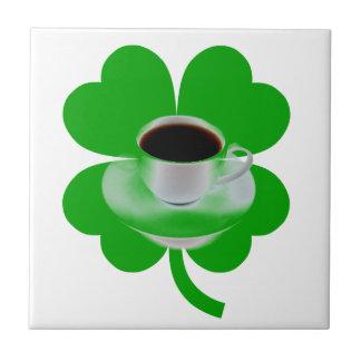IRISH COFFEE TILE-LUCKY GREEN CLOVER SMALL SQUARE TILE