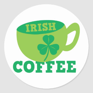 IRISH COFFEE with cup and shamrock for ST PATRICKS Sticker