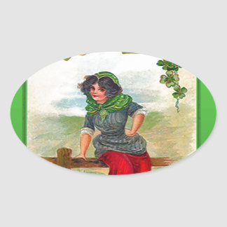 Irish colleen selling shamrocks oval sticker