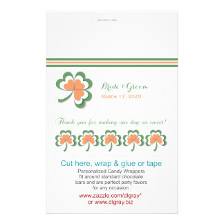 Irish Colors Clover Wedding Candy Wrappers Custom Flyer