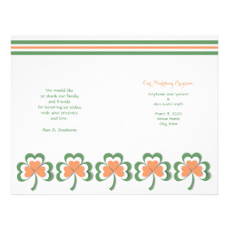Irish Colors Clover Wedding Program Flyers