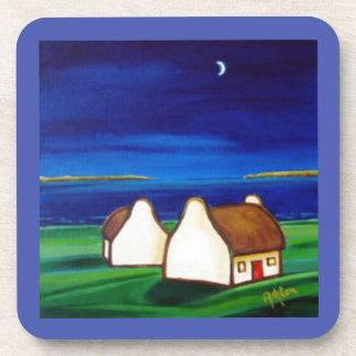 Irish Cottages at Night Beverage Coaster
