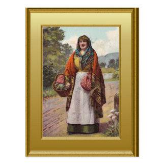 Irish country girl postcard