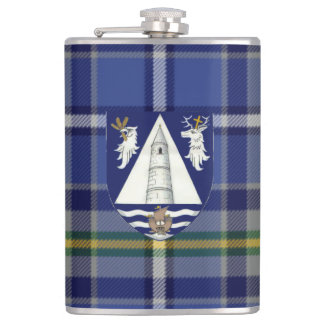 Irish County Waterford Tartan & Crest Hip Flask