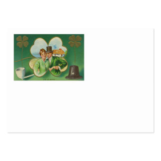 Irish Couple Clay Pipe Four Leaf Clover Blarney Large Business Card