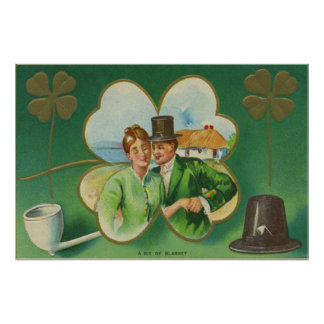 Irish Couple Clay Pipe Four Leaf Clover Blarney Poster