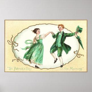 Irish Couple Dancing Vintage St Patrick's Day Poster