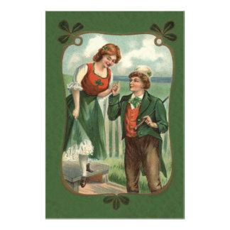 Irish Couple Shillelagh Shamrock Photographic Print
