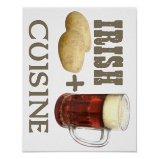 Irish Cuisine Potato + Beer! Poster