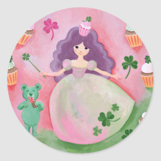 Irish Cupcake Princess Painting Classic Round Sticker