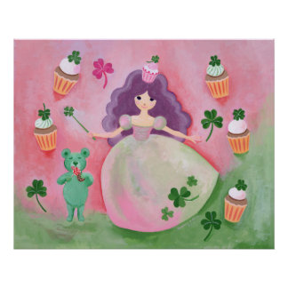 Irish Cupcake Princess Painting Poster