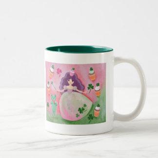 Irish Cupcake Princess Painting Two-Tone Coffee Mug