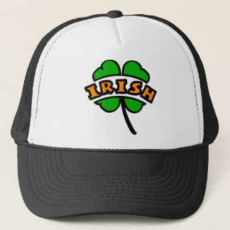 Irish Curved, 2 Colors, With 4-Leaf Clover, Cutout Trucker Hat
