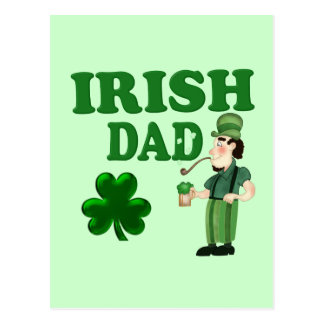 Irish Dad With Green Beer and Pipe Postcard