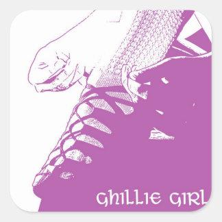 Irish Dance Ghillie Girl Pink Square Sticker