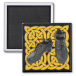 Irish Dance Hard Shoes on Celtic Knot 2 Inch Square Magnet