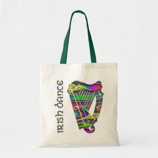 Irish Dance Rainbow Color Harp of Ireland Tote Bag bag