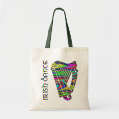 Irish Dance Rainbow Color Harp Of Ireland Tote Bag at Zazzle