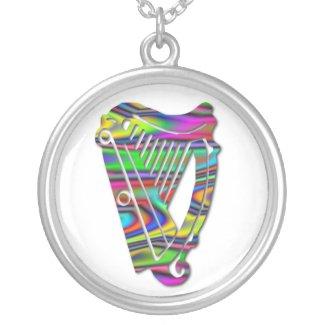 Irish Dance Rainbow Harp Ireland Silver Necklace necklace