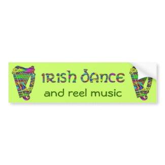 Irish Dance Rainbow Harps Ireland Music Sticker bumpersticker