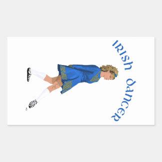 Irish Dancer Blonde in Blue Rectangular Sticker