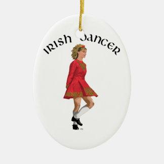 Irish Dancer Blonde in Red Christmas Tree Ornament