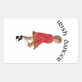 Irish Dancer Blonde in Red Rectangular Sticker