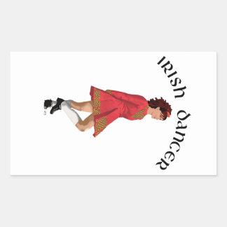 Irish Dancer Brunette in Red Rectangular Sticker