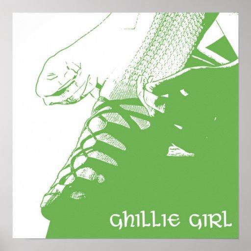 Irish Dancer Ghillie Girl Green Poster