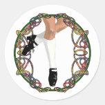 Irish Dancer Hard Shoe Round Stickers