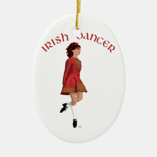 Irish Dancer in Red Ceramic Ornament