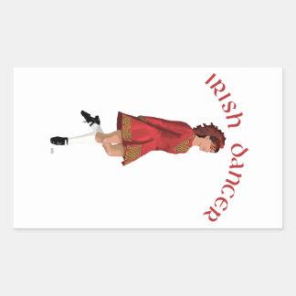 Irish Dancer in Red Rectangular Sticker