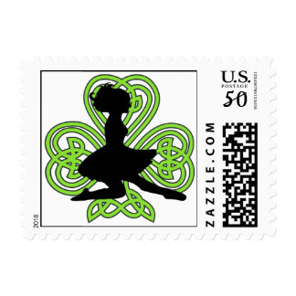 Irish Dancer Leaping Celtic Heart Shamrock Postage