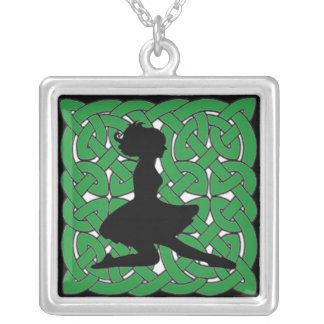 Irish Dancer on Green Celtic Knot Square Pendant Necklace