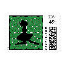 Irish Dancer on Green Celtic Knot Postage
