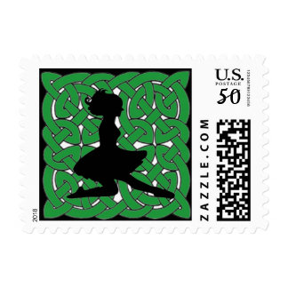 Irish Dancer on Green Celtic Knot Postage
