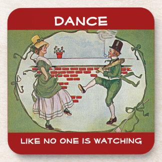 irish dancers vintage beverage coaster