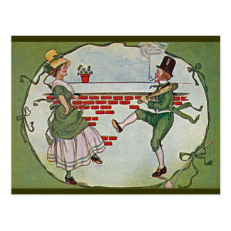 irish dancers vintage postcard
