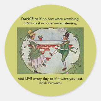 irish dancers vintage classic round sticker