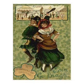 Irish Dancing Erin Go Braugh Shillelagh Postcard