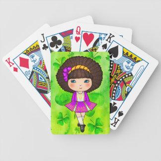 Irish dancing girl in violet dress bicycle playing cards