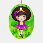 Irish dancing girl in violet dress Double-Sided oval ceramic christmas ornament