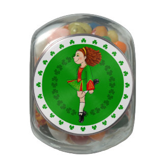 Irish Dancing Glass Candy Jar