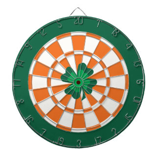 Irish Dartboard: Lucky 4 Leaf Clover Bullseye Dart Board