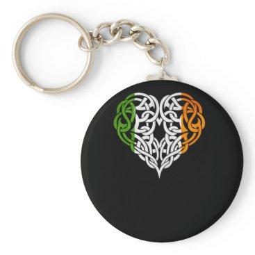 Irish Design Celtic Heart Irish Flag Shirt Keychain