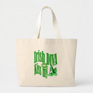 Irish diva kiss my shoes large tote bag