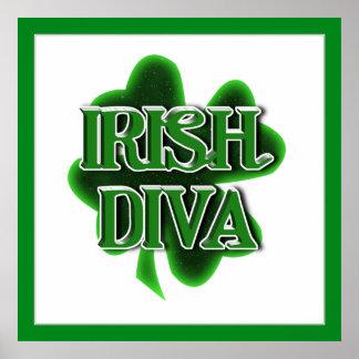 IRISH DIVA St. Patrick's Day Shamrock Poster