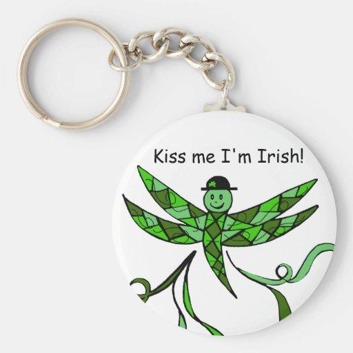 Irish Dragonfly, Kiss me I'm Irish! key Chain